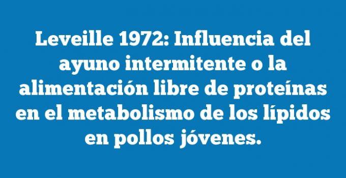 Leveille 1972: Influencia del ayuno intermitente o la alimentación libre de proteínas en el metabolismo de los lípidos en pollos jóvenes.