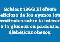 Schless 1966: El efecto beneficioso de los ayunos totales intermitentes sobre la tolerancia a la glucosa en pacientes diabéticos obesos.
