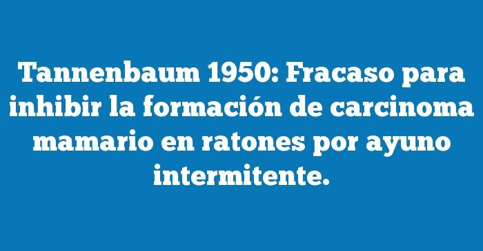 Tannenbaum 1950: Fracaso para inhibir la formación de carcinoma mamario en ratones por ayuno intermitente.